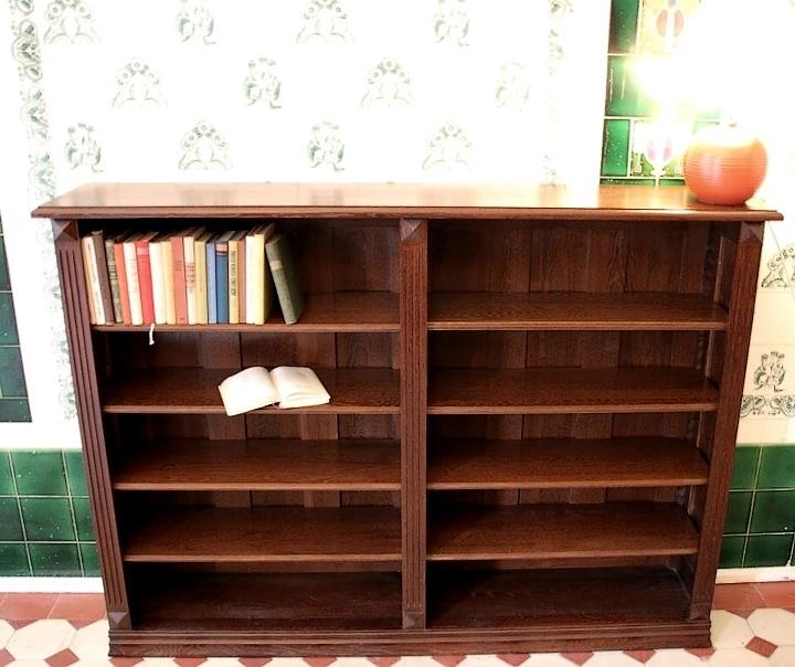 b cherregal massiv holz eiche im nussbaumton 120x160x30cm ebay. Black Bedroom Furniture Sets. Home Design Ideas