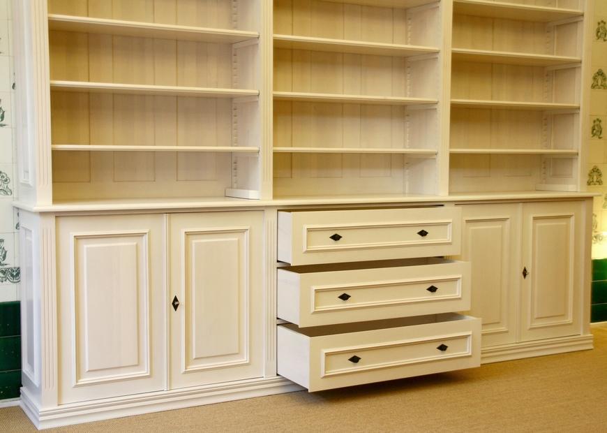 b cherwand in wei massivholz mit t ren und sch ben 250x300x40cm ebay. Black Bedroom Furniture Sets. Home Design Ideas