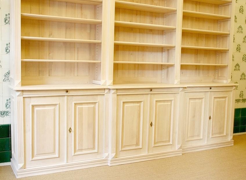 b cherregal wei massivholz mit t ren 270x300x45cm ebay. Black Bedroom Furniture Sets. Home Design Ideas