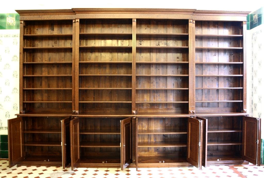 regalwand mit t ren und leiter erle massiv 270x400x45cm. Black Bedroom Furniture Sets. Home Design Ideas